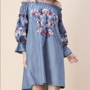 Dresses & Skirts - Chambray Embroidered Off the Shoulder Dress